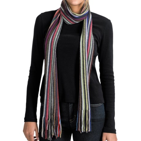 Johnstons of Elgin Cashmere Scarf (For Men and Women) in Multi Stripe