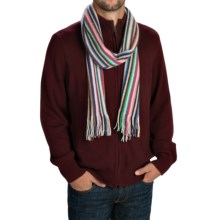 Johnstons of Elgin Cashmere Scarf (For Men and Women) in Natural/Blue/Purple/Orange Multi - Closeouts
