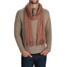 Johnstons of Elgin Cashmere Scarf (For Men and Women) in Olive/Burnt Orange/Natural/Bright Pink/Blue Grey - Closeouts