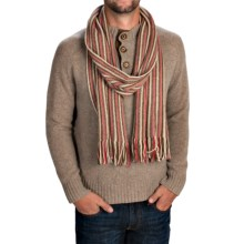 Johnstons of Elgin Cashmere Scarf (For Men and Women) in Olive/Natural/Bright Pink - Closeouts