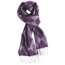 Johnstons of Elgin Cashmere Scarf (For Men and Women) in Purple Argyle - Closeouts