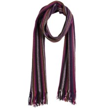 Johnstons of Elgin Cashmere Scarf (For Men and Women) in Purple/Brown/Coral - Closeouts