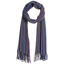 Johnstons of Elgin Cashmere Scarf (For Men and Women) in Purple/Brown/Royal - Closeouts