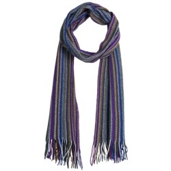 Johnstons of Elgin Cashmere Scarf (For Men and Women) in Purple/Brown/Royal