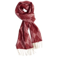 Johnstons of Elgin Cashmere Scarf (For Men and Women) in Red Argyle - Closeouts