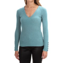 Johnstons of Elgin Cashmere Skinny Rib-Knit Sweater (For Women) in Duck Egg - Closeouts