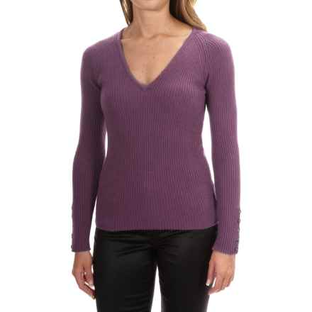 Johnstons of Elgin Cashmere Skinny Rib-Knit Sweater (For Women) in Heather - Closeouts