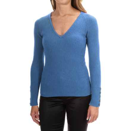 Johnstons of Elgin Cashmere Skinny Rib-Knit Sweater (For Women) in Isfahan - Closeouts