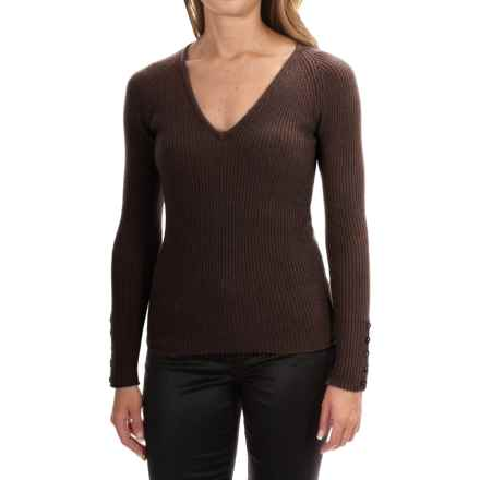 Johnstons of Elgin Cashmere Skinny Rib-Knit Sweater (For Women) in Treacle - Closeouts