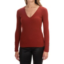 Johnstons of Elgin Cashmere Skinny Rib-Knit Sweater (For Women) in Warm Ginger - Closeouts