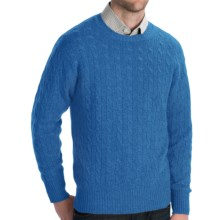 Johnstons of Elgin Cashmere Sweater - Cable Knit (For Men) in Blue Mix - Closeouts