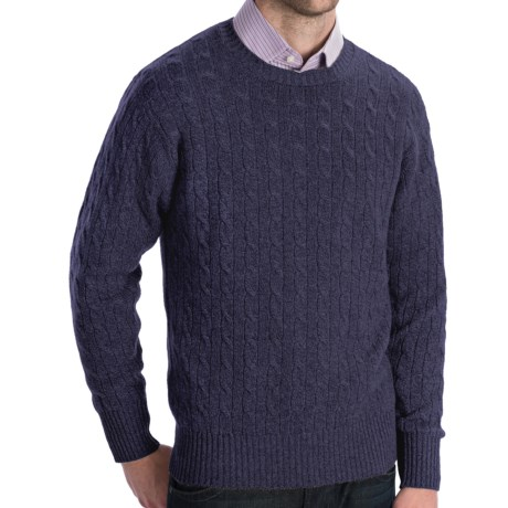 Johnstons of Elgin Cashmere Sweater - Cable Knit (For Men) in Blueberry