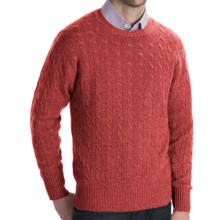 Johnstons of Elgin Cashmere Sweater - Cable Knit (For Men) in Bracken - Closeouts