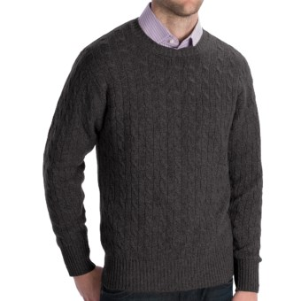 Johnstons of Elgin Cashmere Sweater - Cable Knit (For Men) in Charcoal