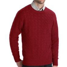 Johnstons of Elgin Cashmere Sweater - Cable Knit (For Men) in Damson Red - Closeouts