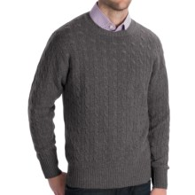 Johnstons of Elgin Cashmere Sweater - Cable Knit (For Men) in Derby - Closeouts