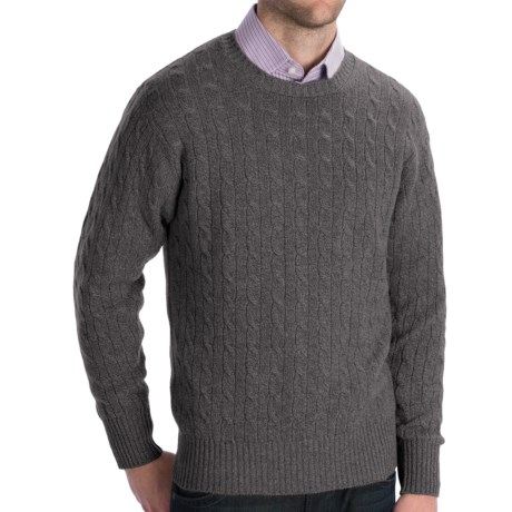 Johnstons of Elgin Cashmere Sweater - Cable Knit (For Men) in Blue Mix