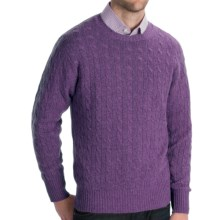 Johnstons of Elgin Cashmere Sweater - Cable Knit (For Men) in Heather - Closeouts