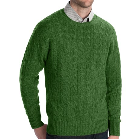 Johnstons of Elgin Cashmere Sweater - Cable Knit (For Men) in Meadow