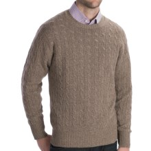 Johnstons of Elgin Cashmere Sweater - Cable Knit (For Men) in Mushroom - Closeouts