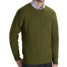 Johnstons of Elgin Cashmere Sweater - Cable Knit (For Men) in Olive - Closeouts