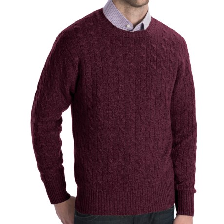 Johnstons of Elgin Cashmere Sweater - Cable Knit (For Men) in Oxblood