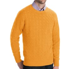 Johnstons of Elgin Cashmere Sweater - Cable Knit (For Men) in Pollen - Closeouts