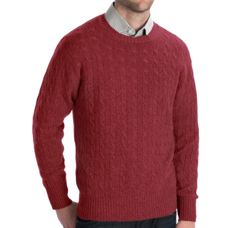 Johnstons of Elgin Cashmere Sweater - Cable Knit (For Men) in Raspberry