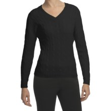 Johnstons of Elgin Cashmere Sweater - Cable Knit, V-Neck (For Women) in Black - Closeouts