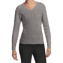 Johnstons of Elgin Cashmere Sweater - Cable Knit, V-Neck (For Women) in Brume - Closeouts