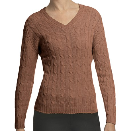 Johnstons of Elgin Cashmere Sweater - Cable Knit, V-Neck (For Women) in Caramel