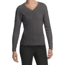 Johnstons of Elgin Cashmere Sweater - Cable Knit, V-Neck (For Women) in Derby Grey - Closeouts