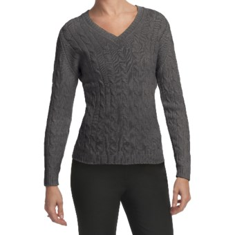 Johnstons of Elgin Cashmere Sweater - Cable Knit, V-Neck (For Women) in Derby Grey