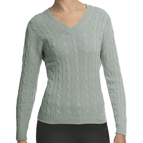 Johnstons of Elgin Cashmere Sweater - Cable Knit, V-Neck (For Women) in Eau De Nil