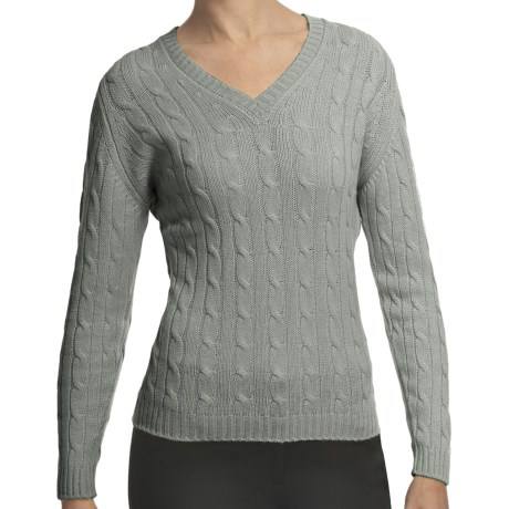 Johnstons of Elgin Cashmere Sweater - Cable Knit, V-Neck (For Women) in Lichen