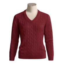 Johnstons of Elgin Cashmere Sweater - Cable Knit, V-Neck (For Women) in New Damson Red - Closeouts