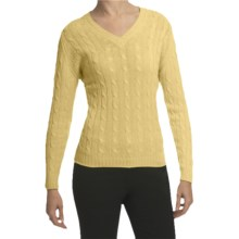 Johnstons of Elgin Cashmere Sweater - Cable Knit, V-Neck (For Women) in Primerose - Closeouts
