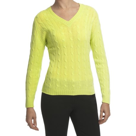 Johnstons of Elgin Cashmere Sweater - Cable Knit, V-Neck (For Women) in Soda