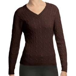 Johnstons of Elgin Cashmere Sweater - Cable Knit, V-Neck (For Women) in Treacle