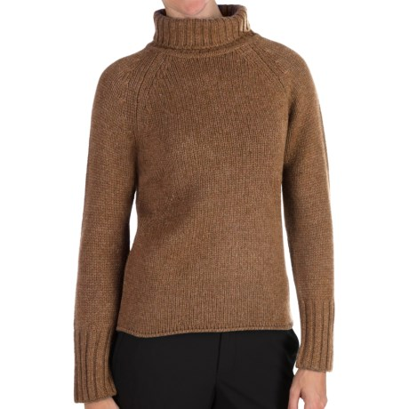 Johnstons of Elgin Cashmere Sweater - Chunky Roll Collar (For Women) in Caramel