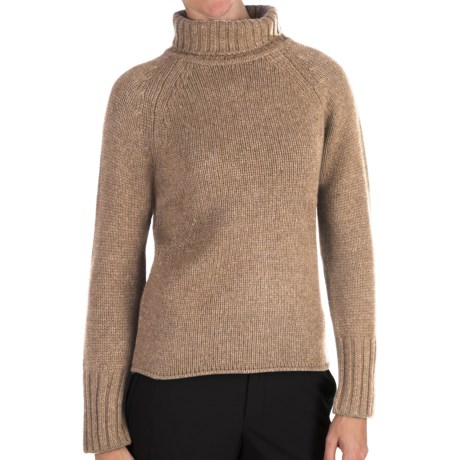 Johnstons of Elgin Cashmere Sweater - Chunky Roll Collar (For Women) in Sand