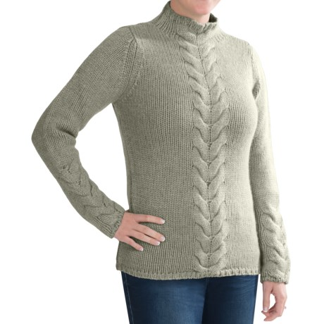 Johnstons of Elgin Cashmere Sweater - Funnel Neck, Cable Front (For Women) in Eucalyptus