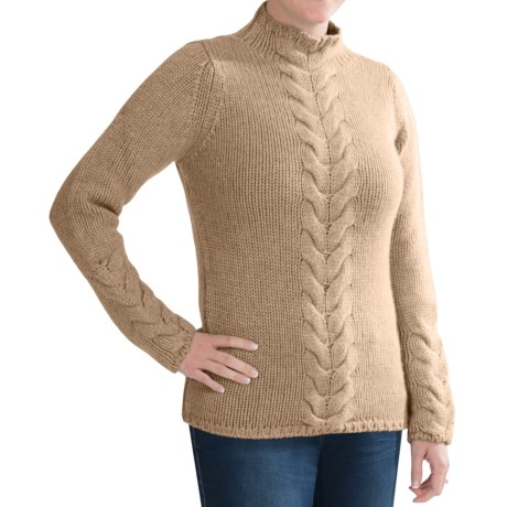 Johnstons of Elgin Cashmere Sweater - Funnel Neck, Cable Front (For Women) in Oatmeal