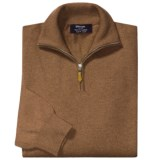 Johnstons of Elgin Cashmere Sweater - Leather Pull, ¼-Zip (For Men)