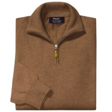 Johnstons of Elgin Cashmere Sweater - Leather Pull, ¼-Zip (For Men) in Caramel - Closeouts