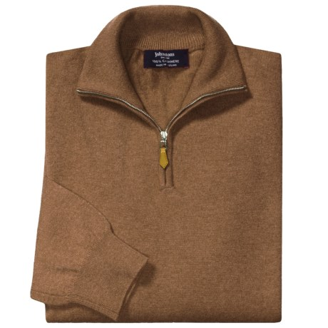 Johnstons of Elgin Cashmere Sweater - Leather Pull, ¼-Zip (For Men) in Caramel