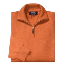 Johnstons of Elgin Cashmere Sweater - Leather Pull, ¼-Zip (For Men) in Clementine - Closeouts