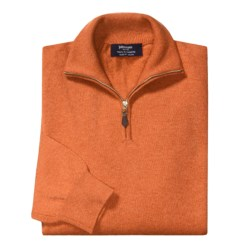 Johnstons of Elgin Cashmere Sweater - Leather Pull, ¼-Zip (For Men) in Clementine