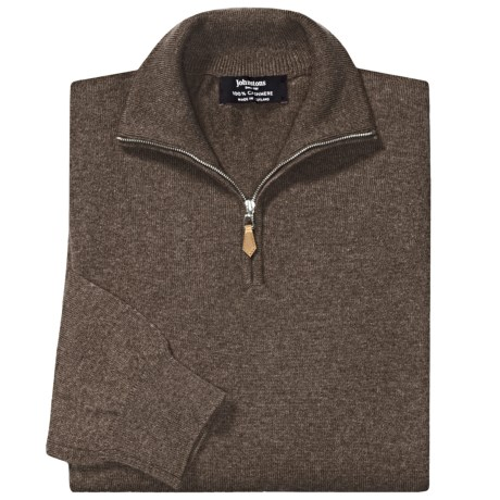 Johnstons of Elgin Cashmere Sweater - Leather Pull, ¼-Zip (For Men) in Heath
