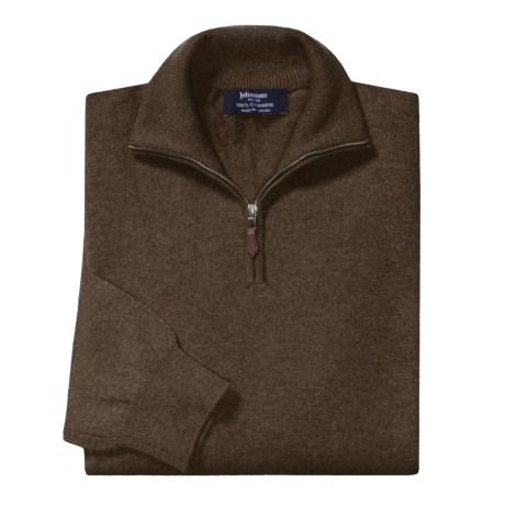 Johnstons of Elgin Cashmere Sweater - Leather Pull, ¼-Zip (For Men) in Loden